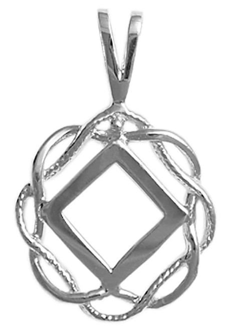 Style #546-9, Sterling Silver, NA Symbol in a Basket Weave Circle, Medium Size
