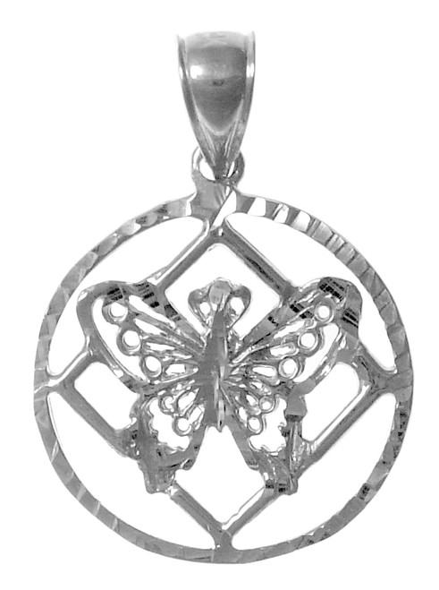 Style #990, Sterling Silver Pendant, NA Symbol with a Small Butterfly on the inside of the Symbol