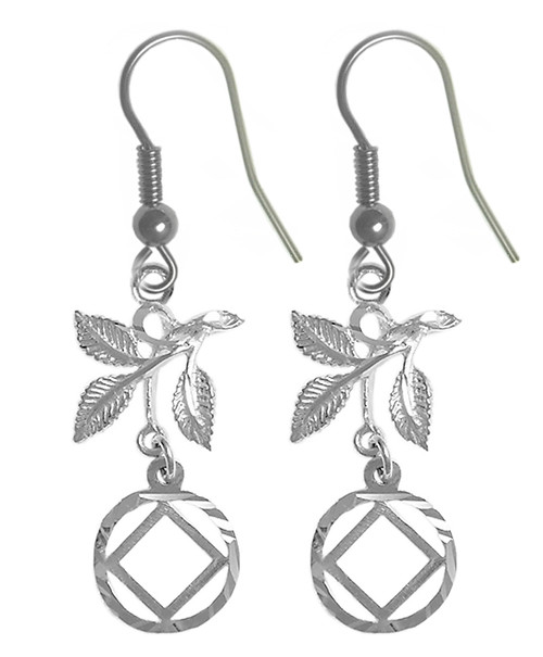 Style #860-13, Sterling Silver Earrings, NA Symbol in a Circle with 3 Leaves