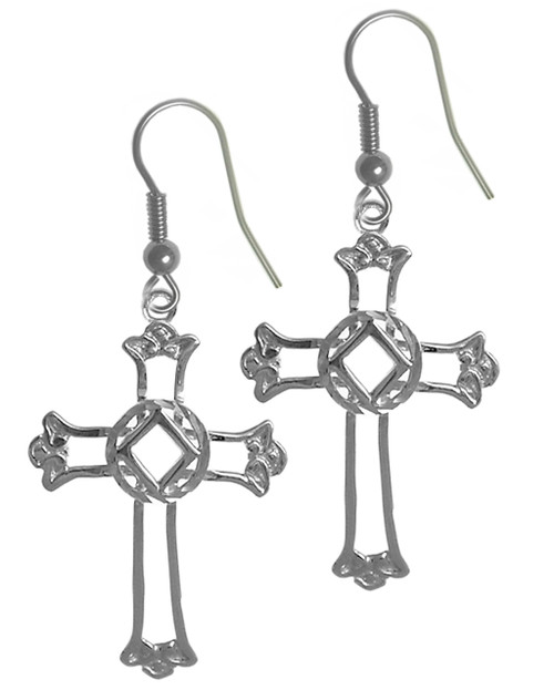 Style #743-13, Sterling Silver Earrings, Cross Pendant with NA Symbol