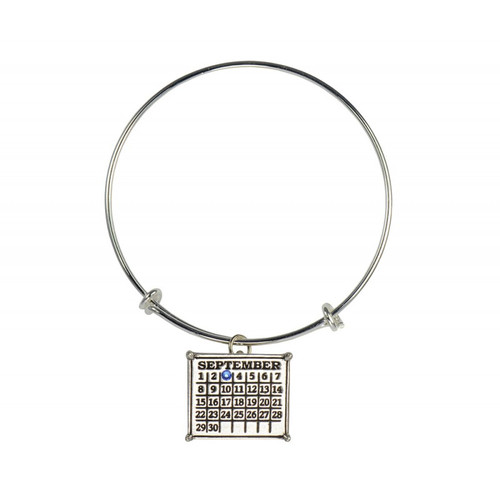 """Your Special Day"" Mini Calendar Charm expandable bangle bracelet"