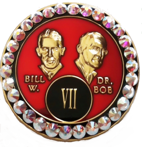 "This Tri-Plated medallion has white crystals inlayed within the circle on the front. The ""Rarely Have we Seen..."" from chapter 5 of AA Big Book is in the back. A perfect recovery gift to celebrate that AA birthday/anniversary."
