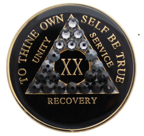 TRANSITION BLACK CRYSTALLIZED MEDALLION Specialty Anniversary Medallion AA Alcoholics Anonymous Coin