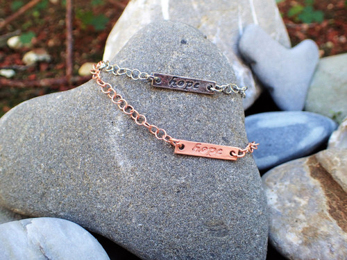 Handmade Dainty HOPE Chain Bracelets - Hand Stamped with Love
