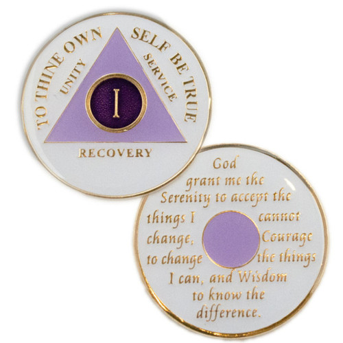 New Alcoholics Anonymous Lavender Coin. Celebrate recovery!