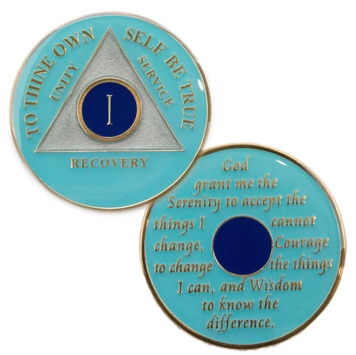 """This gorgeous tricolored enamel medallion features the time-honored Twelve Step program phrase """"To Thine Own Self Be True,"""" with the anniversary year and """"Unity, Service, Recovery"""" on one side, and the Serenity prayer on the other."""
