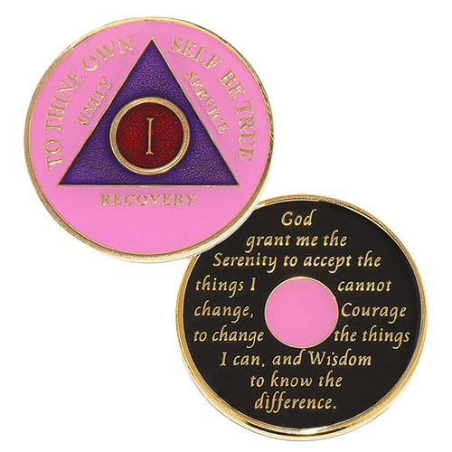 """This gorgeous tricolor enamel AA medallion/ AA coin features  the time-honored Twelve Step program phrase """"To Thine Own Self Be True,""""  with the anniversary year and """"Unity, Service, Recovery"""" on one side,  and the Serenity prayer on the other.  Please allow 7 - 10 days for delivery just in case."""