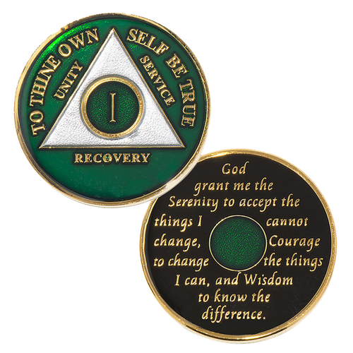 AA Green Medallion (Yrs 1-50) Anniversary Coin Alcoholics Anonymous