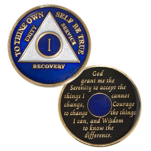 "This gorgeous tricolor enamel AA medallion/ AA coin features  the time-honored Twelve Step program phrase ""To Thine Own Self Be True,""  with the anniversary year and ""Unity, Service, Recovery"" on one side,  and the Serenity prayer on the other.  Please allow 7 - 10 days for delivery just in case."