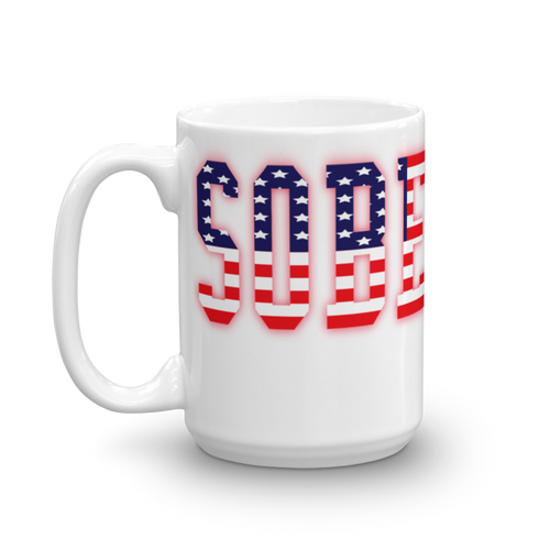 Sober AF American Flag Recovery 15oz ceramic mug.