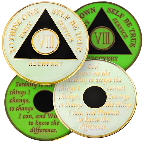 "Brand New Design, white tricolor AA medallion coin with black triangle GLOWS IN THE DARK! Yes, it glows in the dark! This tricolor enamel medallion features the time-honored Twelve Step program phrase ""To Thine Own Self Be True,"" with the anniversary year and ""Unity, Service, Recovery"" on one side, and the Serenity prayer on the other."