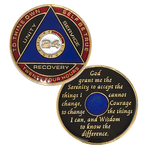 "This gorgeous tricolor enamel medallion features the time-honored Twelve Step program phrase ""To Thine Own Self Be True,"" with ""24"" and ""Unity, Service, Recovery"" on one side, and the Serenity prayer on the other."