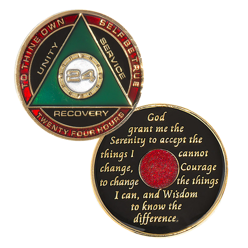 "Description: This gorgeous tricolor enamel medallion features the time-honored Twelve Step program phrase ""To Thine Own Self Be True,"" with the anniversary year and ""Unity, Service, Recovery"" on one side, and the Serenity prayer on the other."