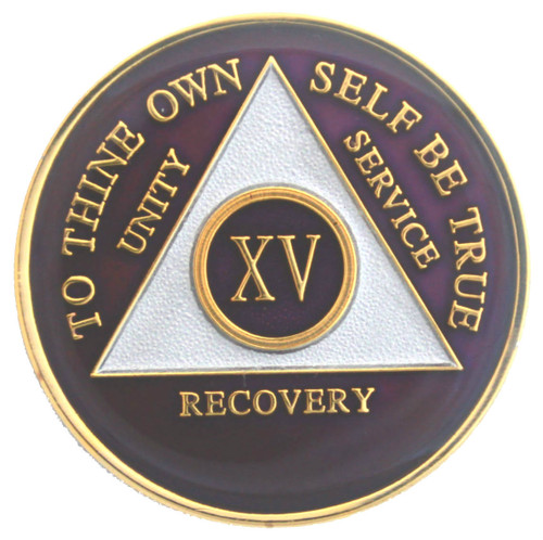 "Circle Triangle Color Anniversary Year Coins in this section have the Serenity Prayer on the reverse side.   ""God grant me the serenity to accept things I cannot change, courage to change things I can, and wisdom to know the difference.""   Our vibrant medallions are hand painted then protected with a clear epoxy coating for added depth and superior protection.   We add years - Please inquire if you do not see the year you want in the color you like.  Check below each coin to see the years available.    Size: 1 3/8"" diameter         34mm x 2mm"