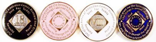 """Anniversary NA Style Tri-Plated Medallions Tri-plated with gold plate, silver plate(nickel), color enamel and epoxy coating.  18 month & 1-30 years Available in Black, Blue, Ivory or Pink  A true """"Tri-plated"""" medallion features the time honored program phrases """"Out of the Ashes of Addiction Comes Recovery and Growth"""", """"Just for Today"""" and the Serenity Prayer on reverse with """"Miracles Happen"""""""