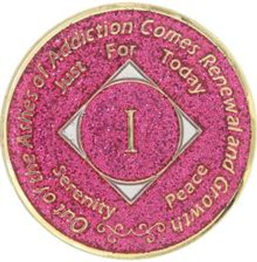 NEW! NA Recovery Medallion Glitter Pink (Yrs 1-40). #Na3