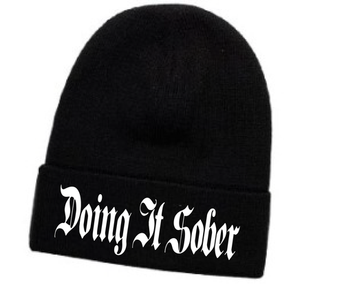 ":Doing It Sober"" Black Embroidered Beenie"