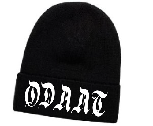 """ODAAT""- One Day At A Time Embroidered Black Beanie"