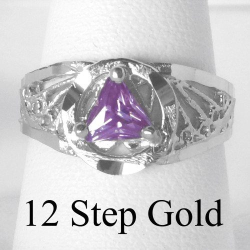 Style #120-7, Sterling Silver, AA Symbol Ring with a 5X5mm CZ Triangle in Purple Amethyst Color, Filigree Style