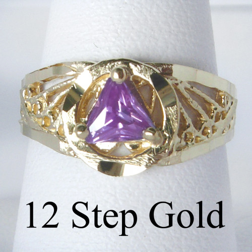 Style #120-7, 14k Gold, AA Symbol Ring with a 5X5mm CZ Triangle in Purple Amethyst Color, Filigree Style