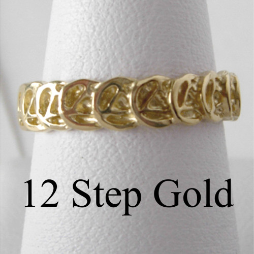 Style #521-7, 14k Gold, Ring with Continuous AA Symbol Circle Triangle on a Narrow Style Band