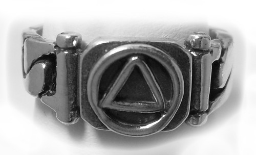 Style #514-8, Sterling Silver, AA Symbol Ring, Chain Link Style