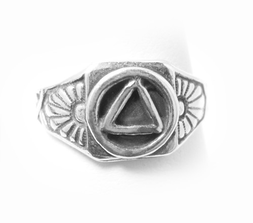 Style #513-7, Sterling Silver,  AA Circle Triangle Ring With Sunrise on both sides of Symbol