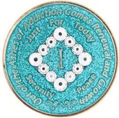 NEW! NA Swarovski Bling Glitter Turquoise Coin (Yrs 1-40). #N06