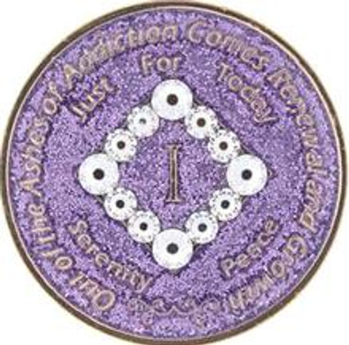 NEW! NA Bling Glitter Lavender Coin (Yrs 1-40) #N07