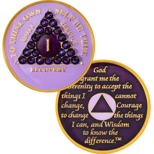 new purple crystal medallions for alcoholics anonymous!