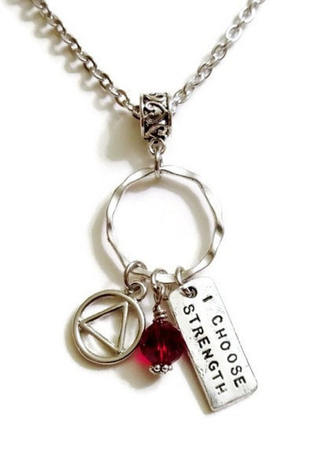 AA I Choose Strength Charm Holder Pendant Necklace – 12 Step Recovery Alcoholics Anonymous - Red