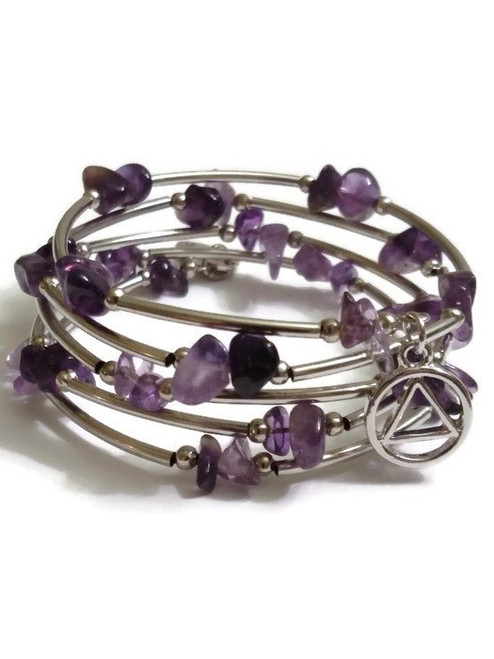 AA Amethyst Wrap Around Wire Bracelet With Silver Tone Charms – 12 Step Recovery Alcoholics Anonymous