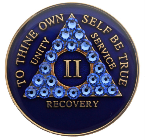 CRYSTALLIZED BLUE TRI PLATE BLING MEDALLION WITH CRYSTALS AA Alcoholics Anonymous