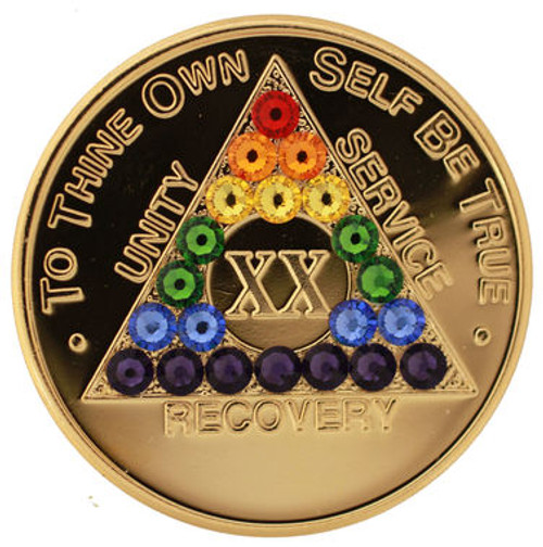 RAINBOW CRYSTALLIZED GOLD TRANSITION AA Alcoholics Anonymous Bling Coin - Recovery Medallion  LGBT