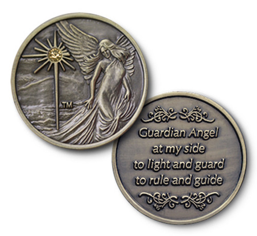 Antiqued Bronze Finish with Topaz  Guardian Angel Coin