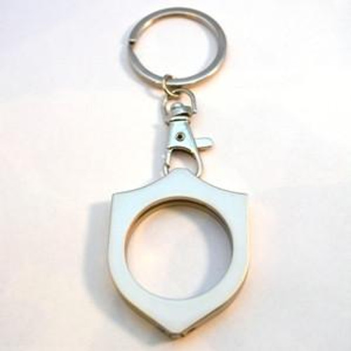 Key Chain: Metal Medallion Holder, Shiny or Brushed Metal, SHIELD. K8