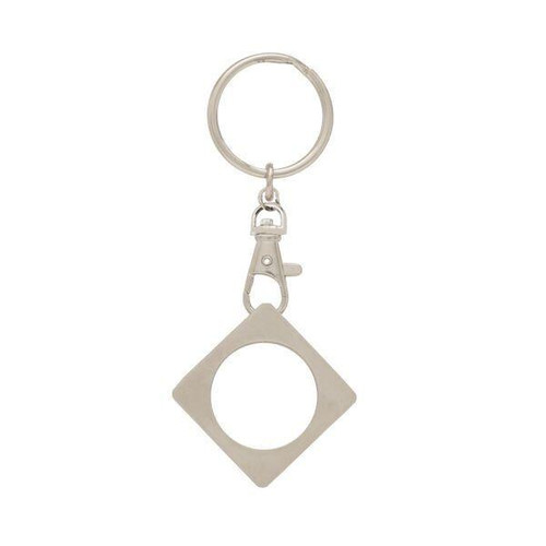 Key Chain: Metal Medallion Holder, Shiny or Matte Brushed Finish, SQUARE. K9