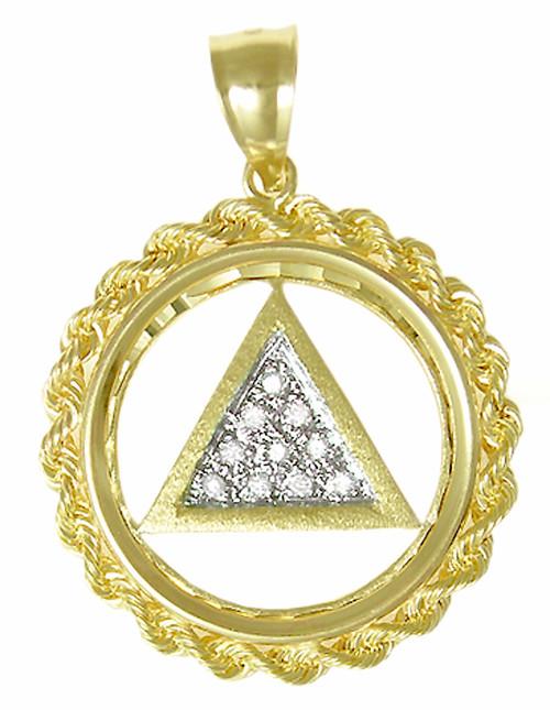 Style 36 2 14k Gold Aa Symbol Pendant Rope Circle W 10