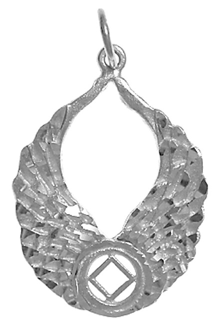 Style 825 10 Sterling Silver Na Recovery Symbol With Angel Wings