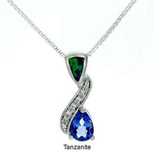 """Symphony"" Tachyon Tansanite Pendant with Opal and CZ Accents Set in Silver"