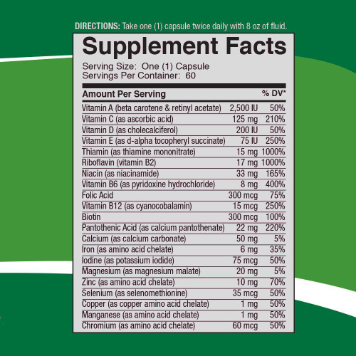 Multiplex Vitamin by 4Life supplemental facts