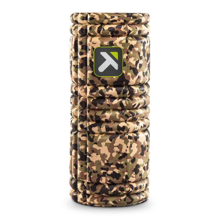 GRID Foam Roller Camo standing vertically on a white background.