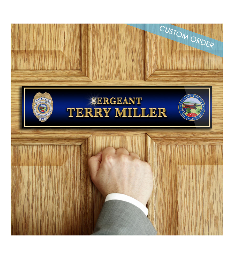 Custom Door Name Plaque, Full Color, Patch, Badge, Wood and Acrylic - Law Enforcement, Police, Sheriff.