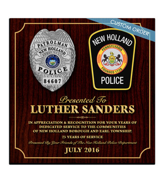 "This is a Custom and Personalized Recognition Plaque that comes ready to hang and is a great Recognition Award, Appreciation Award or Retirement Award.  A ""stunning"" Wood & Acrylic Wall Plaque that really stands out and makes you feel worth it.  Any Patch, Badge, Seal, Logo, Challenge Coin or any Artwork of your choice can be added with Free Setup and Free Shipping.  This is a perfect gift for any Law Enforcement Agency, Government Agency, Military Department, Fire Department, Emergency Service or Organization."