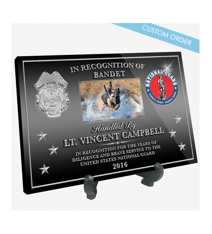 """Patch Plaques can make any Patch, Badge, Seal, Logo or Artwork into a beautiful Wood & Acrylic Desk Plaque.  Cut To Shape! These """"Stunning"""" Plaques also come with an Easel stand... Free Shipping and Free Setup!"""