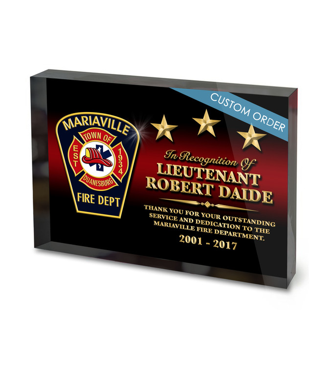 Fire Rescue, EMS, Fire Department Acrylic Block Recognition Award.