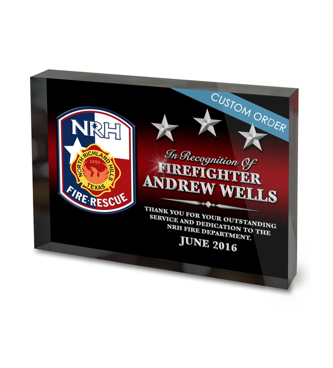 "Fire Department Appreciation and Recognition with Patch, Badge or Logo. Acrylic Award 1""Thick Block."