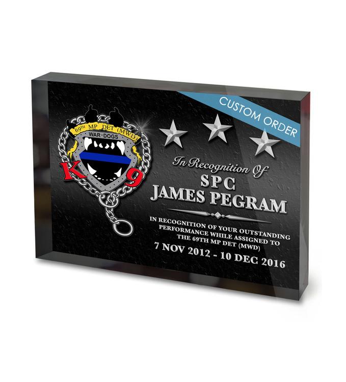 Appreciation Acrylic Award for Military