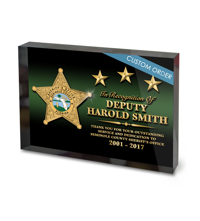 Custom Acrylic Block Recognition for Sheriff, Police