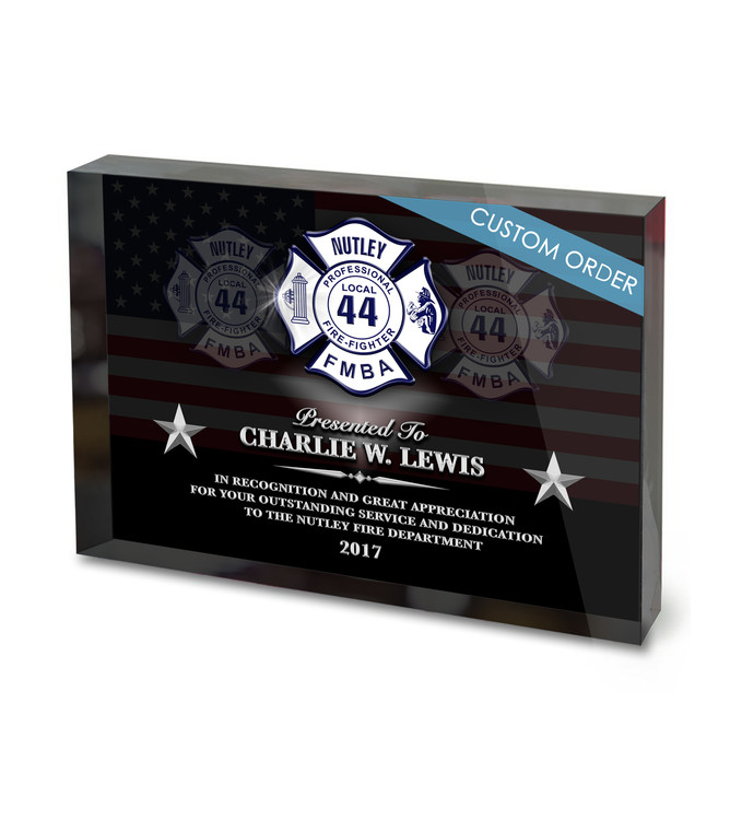 Full color Acrylic Block Appreciation Award Plaque for Fire Rescue, EMS, Fire Departments